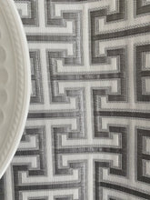 Load image into Gallery viewer, Grey Maze Fabric Tablecloth