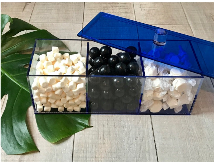 Lucite Blue 3 sectional for Dips/Condiments