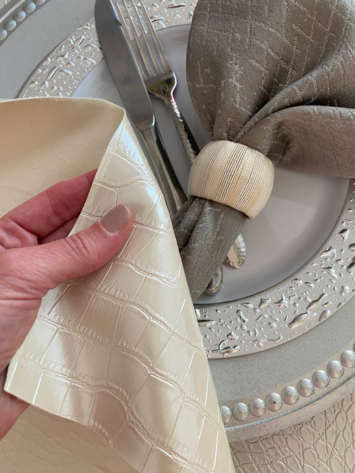 Ivory Crocodile Faux Leather Tablecloth
