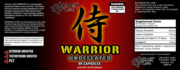 Anarchy Labs Warrior Undefeated Testosterone Booster Label