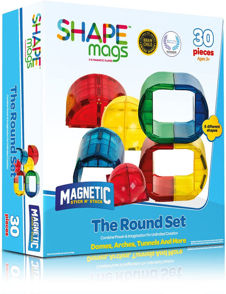Magnetic Stick N Stack Shape Mags 30 Piece Round Set - Genius Gems