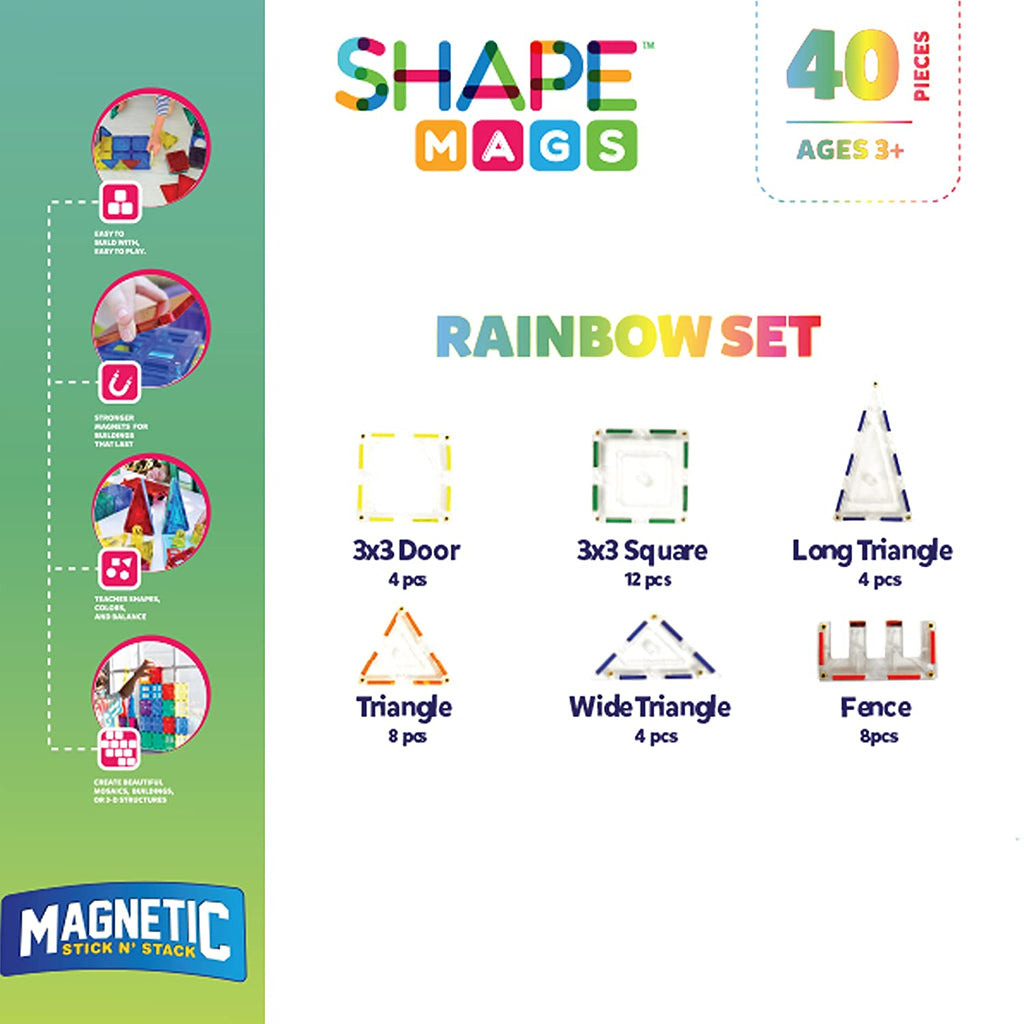Magnetic Stick N Stack 40 Piece Magnetic Tiles Rainbow Set - Genius Gems