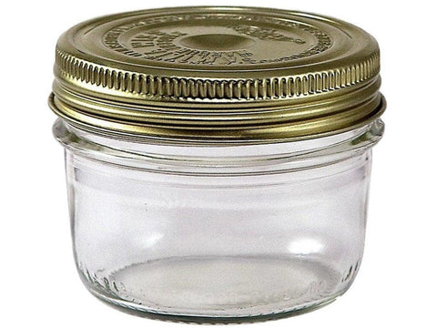 200ml French Glass Mason Canning Jar W/ Gold Metal 2 Lid