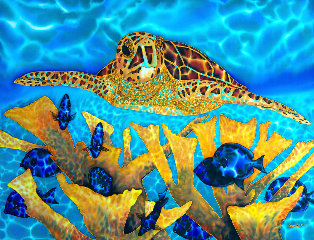 Painting - Hawksbill Turtle & Blue Tangs - 30