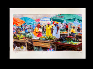"Painting - 13"" x 19"" - Castries Market"