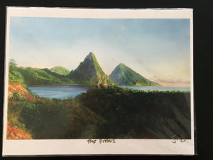 "Painting - 11"" x 8.5"" - The Pitons"