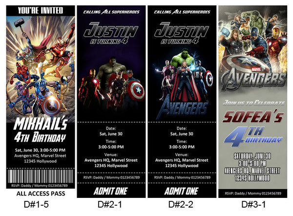 Personalized Avengers birthday ticket invitation card for an Avengers themed-party #2