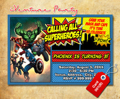 Avengers Birthday Invitation - DIY Avengers invitation, Avengers party printables
