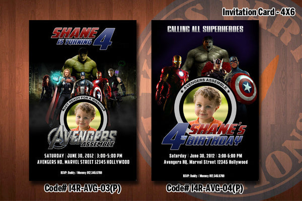 Personalized Avengers Birthday Party Invitation 4x6 (with Photo)