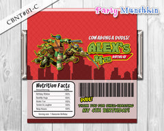 TMNT Ninja Turtles Candy Bar Wrapper - Chocolate label - Ninja Turtle - (Choose from 5 colors) - DIY Printable