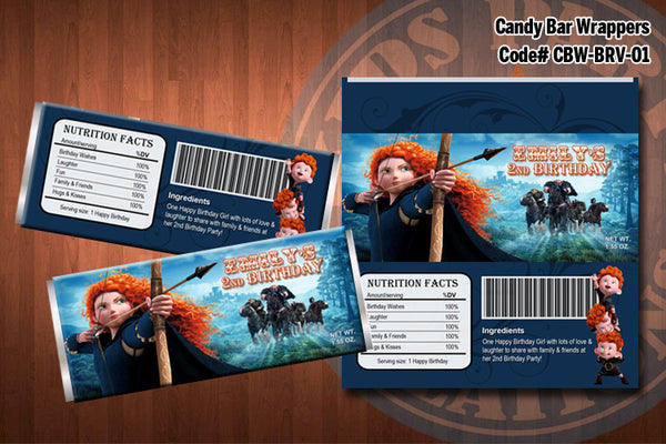BRAVE Candy Bar Wrappers - Printable and Personalized for Brave birthday party