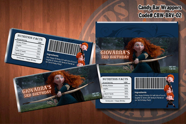 BRAVE Candy Bar Wrappers - Printable and Personalized for PRINCESS MERIDA Brave birthday party