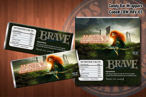 PRINCESS MERIDA BRAVE Candy Bar Wrappers - Printable and Personalized for Brave birthday party