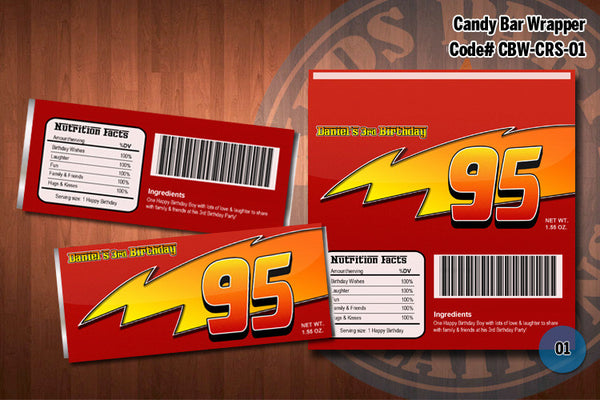 Personalized CARS Lightning McQueen Printable Candy Bar Wrappers for the Cars Birthday Party D#1