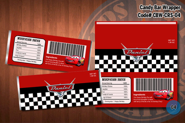 Personalized CARS Lightning McQueen Printable Candy Bar Wrappers for the Cars Birthday Party D#4