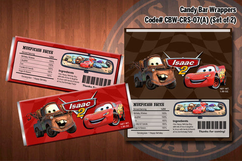 CARS Lightning McQueen and Mater Printable Candy Bar Wrappers for the Cars Birthday Party (SET of 2) Red & Brown