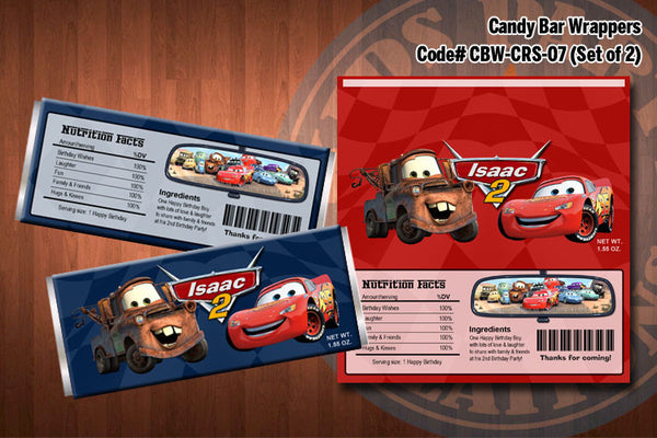 CARS Lightning McQueen and Mater Printable Candy Bar Wrappers for the Cars Birthday Party (SET of 2) Red & Blue
