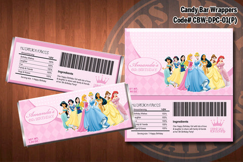 DISNEY PRINCESS Candy Bar Wrappers - DIY Printable for Disney Princess party