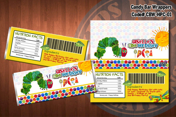 HUNGRY CATERPILLAR Candy Bar Wrappers - Printable and Personalized for Hungry Caterpillar birthday party