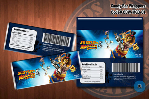 MADAGASCAR 3 -Personalized and Printable Candy Bar Wrappers for Madagascar 3 Birthday Party D#1