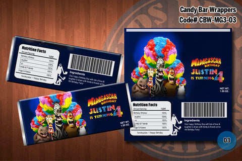 MADAGASCAR 3 -Personalized and Printable Candy Bar Wrappers for Madagascar 3 Birthday Party D#3