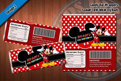 MICKEY MOUSE Printable Candy Bar Wrappers for Mickey Mouse Birthday Party (CHOOSE 1 design)