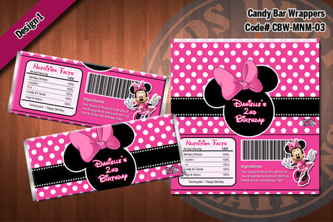 MINNIE MOUSE Printable Candy Bar Wrappers for Minnie Mouse Birthday Party D#3-1