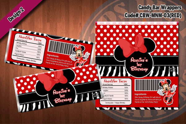 MINNIE MOUSE Printable Candy Bar Wrappers for Minnie Mouse Birthday Party D#3-2 (Red)