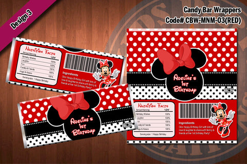 MINNIE MOUSE Printable Candy Bar Wrappers for Minnie Mouse Birthday Party D#3-3 (Red)
