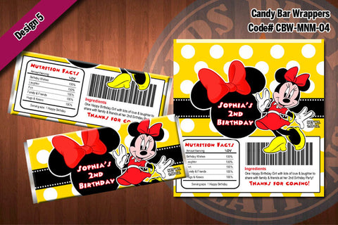 MINNIE MOUSE Printable Candy Bar Wrappers for Minnie Mouse Birthday Party D#4-5