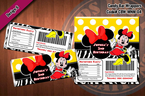 MINNIE MOUSE Printable Candy Bar Wrappers for Minnie Mouse Birthday Party D#4-6