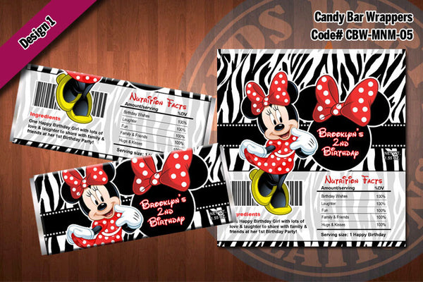 MINNIE MOUSE Printable Candy Bar Wrappers for Minnie Mouse Birthday Party D#5-1