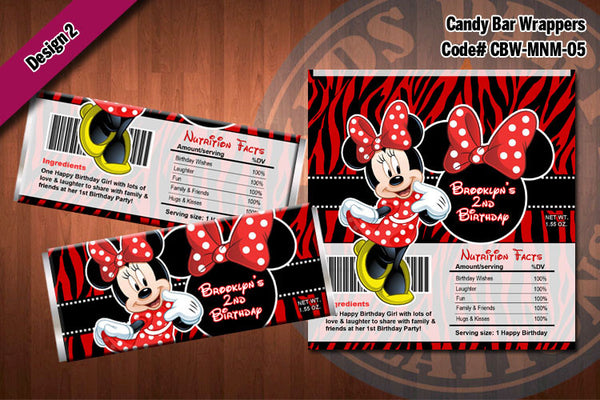 MINNIE MOUSE Printable Candy Bar Wrappers for Minnie Mouse Birthday Party D#5-2