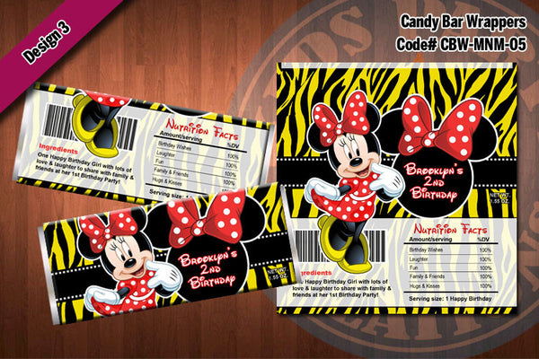 MINNIE MOUSE Printable Candy Bar Wrappers for Minnie Mouse Birthday Party D#5-3