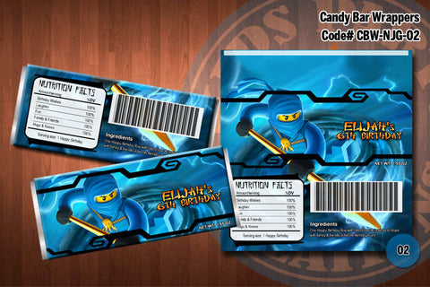 Ninjago Candy Bar Wrapper - Blue - Jay