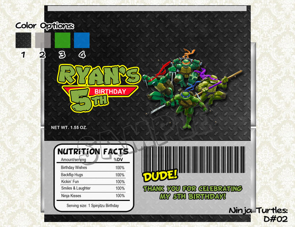 NINJA TURTLES Candy Bar Wrapper - Ninja Turtle Candy Wrapper for TMNT Birthday Party