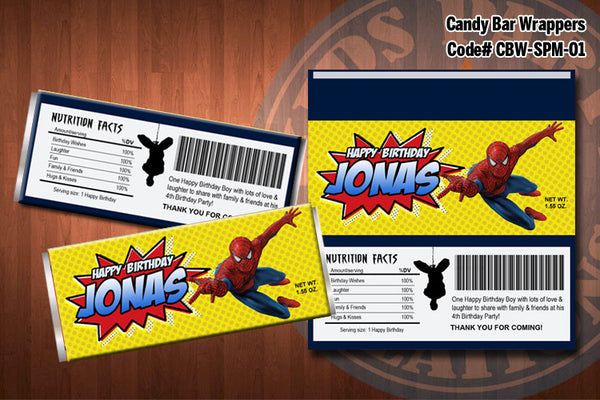 Personalized SPIDERMAN Printable Candy Bar Wrappers for Spiderman Birthday Party (01)