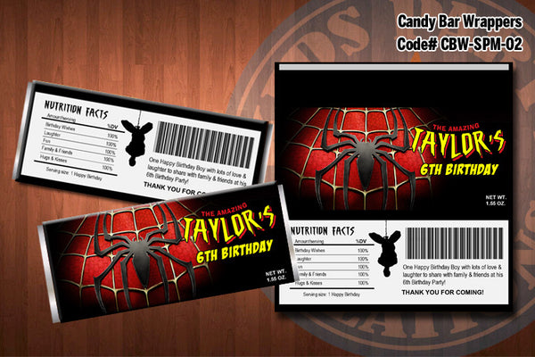 Personalized SPIDERMAN Printable Candy Bar Wrappers for Spiderman Birthday Party (02)