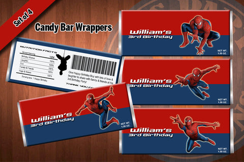 SPIDERMAN Candy Bar Wrappers - Printable for Spiderman Birthday Party (SET of 4) Latest design