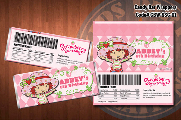 Personalized STRAWBERRY SHORTCAKE Printable Candy Bar Wrappers for Strawberry Shortcake Birthday Party D#1