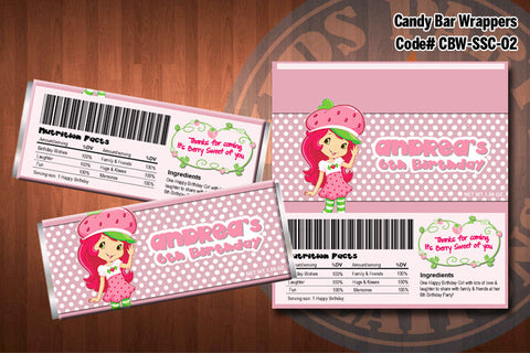 Personalized STRAWBERRY SHORTCAKE Printable Candy Bar Wrappers for Strawberry Shortcake Birthday Party D#2