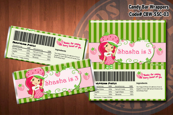 Personalized STRAWBERRY SHORTCAKE Printable Candy Bar Wrappers for Strawberry Shortcake Birthday Party D#3