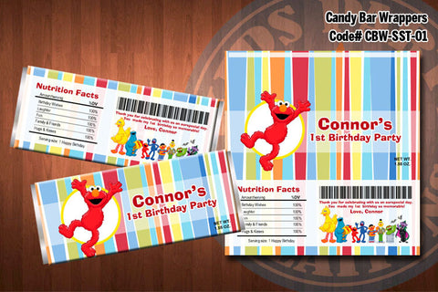 ELMO SESAME STREET Printable Candy Bar Wrappers for Elmo Birthday Party
