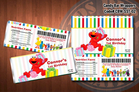 ELMO and Friends Printable Candy Bar Wrappers for Elmo SESAME STREET Birthday Party