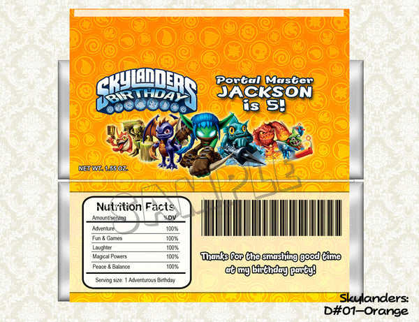 SKYLANDERS Candy Bar Wrapper