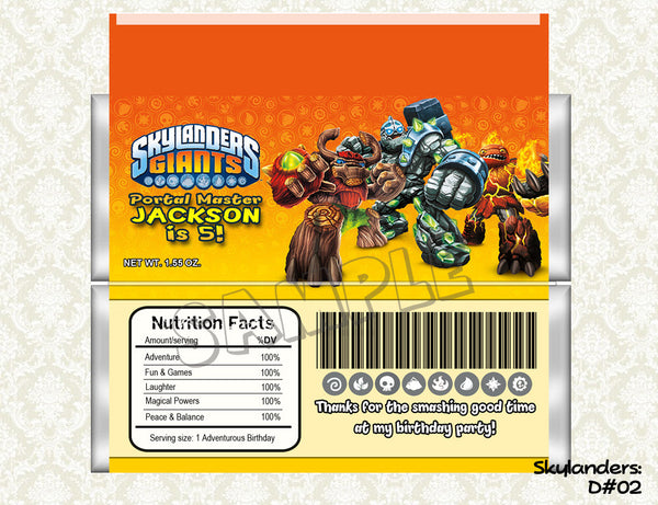 SKYLANDERS Candy Bar Wrapper - Skylanders Favor for Skylanders Birthday Party
