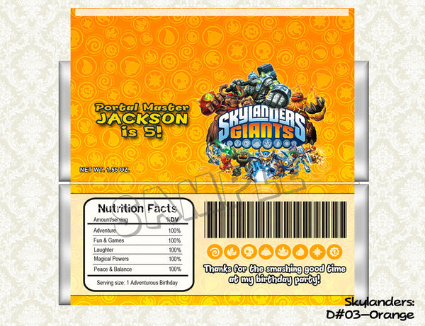 SKYLANDERS Candy Bar Wrapper - Skylanders Favor for Skylanders Birthday Party - CHOOSE from 3 colors