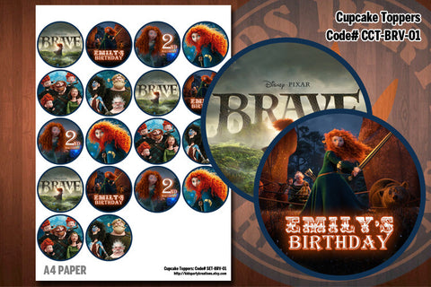 BRAVE Cupcake Toppers - Printable and Personalized for Brave birthday party