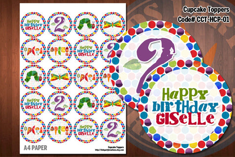 HUNGRY CATERPILLAR Cupcake Toppers - Printable and Personalized for Hungry Caterpillar birthday party