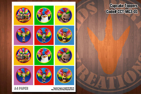 Madagascar 3 Cupcake Topper Printables by Kids Party Kreations D#1